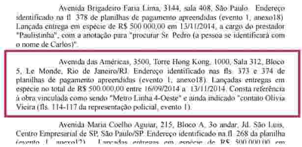 Despacho de Sergio Moro vincula pagamento feito no Rio a obra do metrô - Reprodução