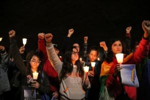Manifestantes participam de ato '49 de Orlando, não esqueceremos!' no vão livre do Masp, na avenida Paulista