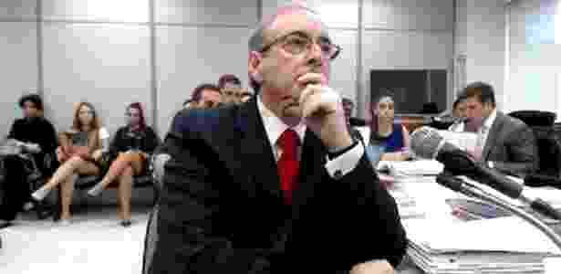 7.fev.2017 - O deputado cassado Eduardo Cunha (PMDB-RJ) ao ser interrogado - Reprodução