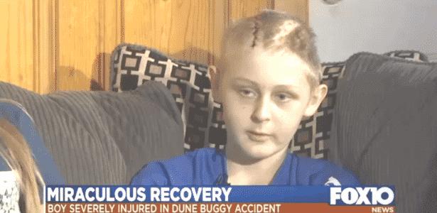 Trenton McKinley, 13, sofreu um grave acidente quando estava brincando - Reprodução de vídeo/FOX