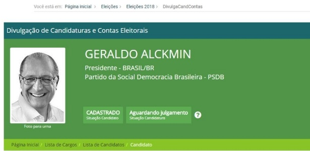 Site do TSE registra pedido de candidatura à Presidência do ex-governador Geraldo Alckmin (PSDB-SP)