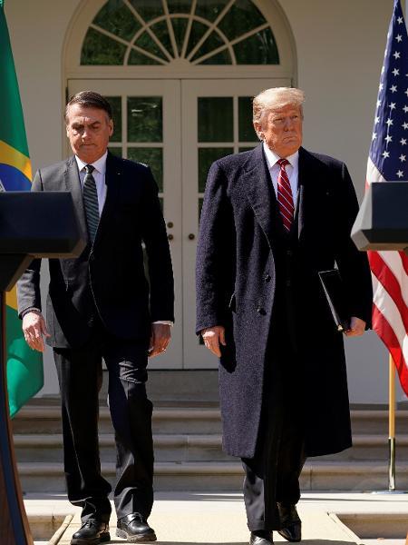 Bolsonaro e Trump em coletiva de imprensa na Casa Branca, em Washington D.C - Reuters