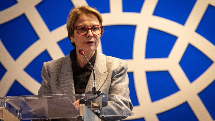 Ministra da Agricultura Tereza Cristina em palestra na Câmara de Comércio Árabe-Brasileira - Adriana Spaca/Framephoto/Estadão Conteúdo