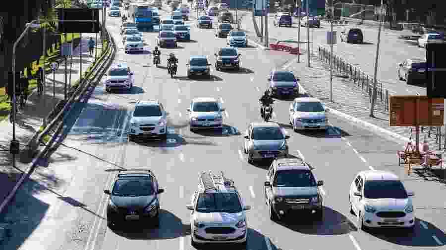 12.mai.2020 - Coronavírus: registro do segundo dia do novo sistema de rodízio de veículos na cidade de São Paulo - Paulo Guereta/Agência O Dia/Estadão Conteúdo