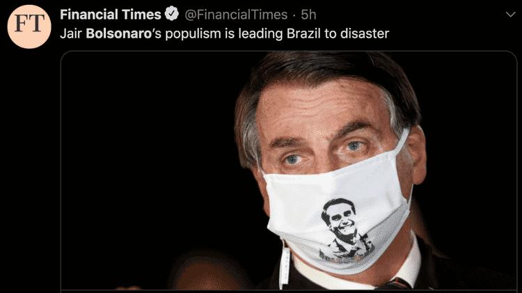 Veículos internacionais publicaram textos com duras críticas à resposta do presidente Jair Bolsonaro à crise gerada pelo coronavírus - Reprodução - Reprodução