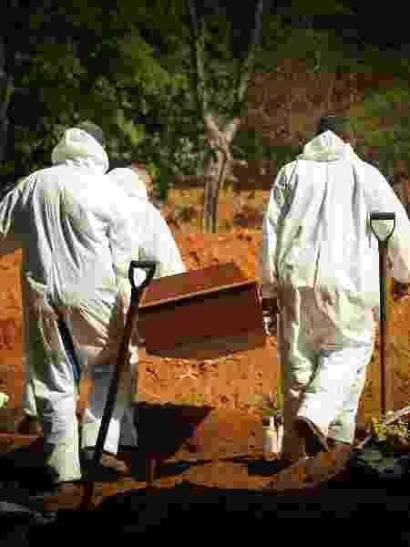 Enterro de vítima do coronavírus no Cemitério da Vila Formosa, na zona leste de São Paulo - Robson Rocha/Agência F8/Estadão Conteúdo