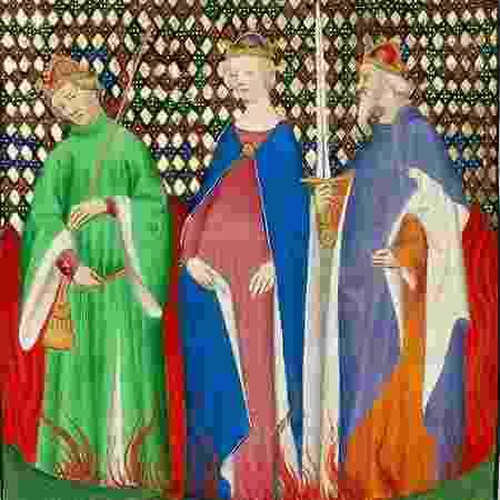 Tibério, Messalina e Calígula se repreendem no meio das chamas nesta obra de um autor desconhecido pintada por volta de 1415 - GETTY IMAGES - GETTY IMAGES