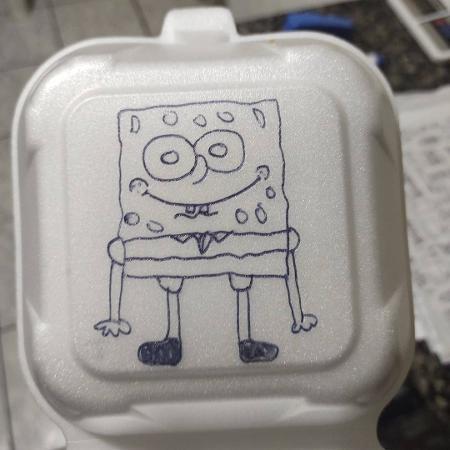 Bob Esponja virou desenho na embalagem de uma hamburgueria - Reprodução/ Redes Sociais