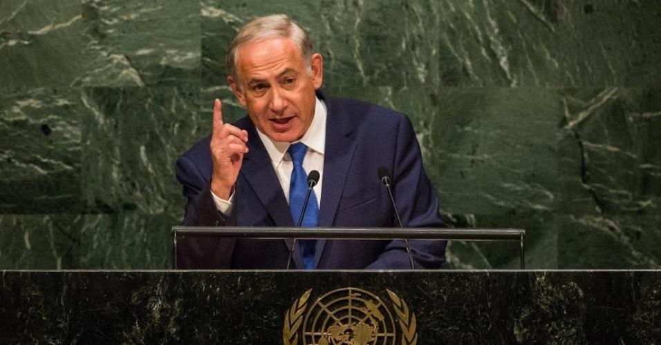 1º.out.2015 - Benjamin Netanyahu, primeiro-ministro de Israel, faz seu pronunciamento na 70ª Assembleia Geral das Nações Unidas, em Nova York (EUA)