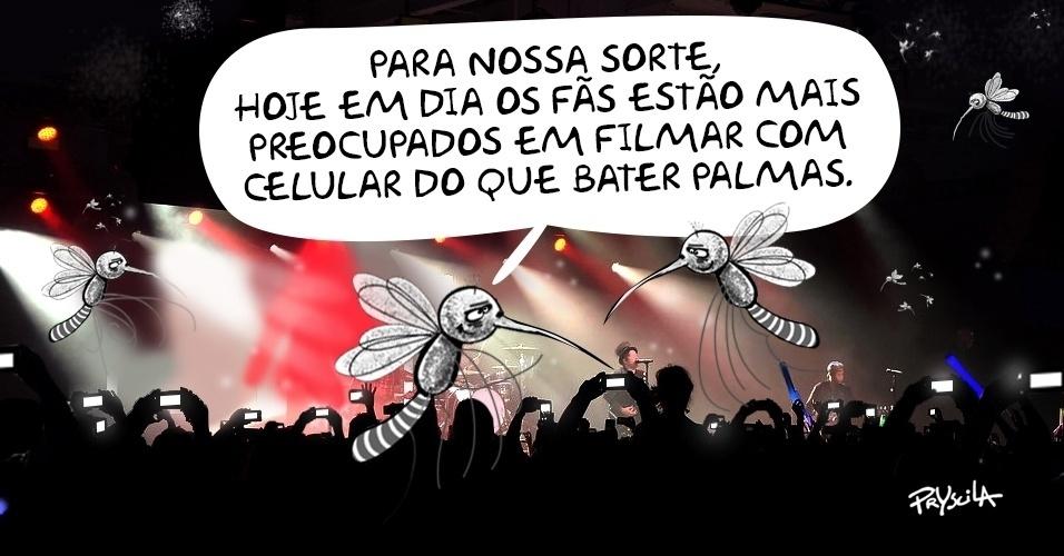 24.fev.2016 - Em época de Stones no Brasil, quem comemora a moda dos celulares em shows é o Aedes