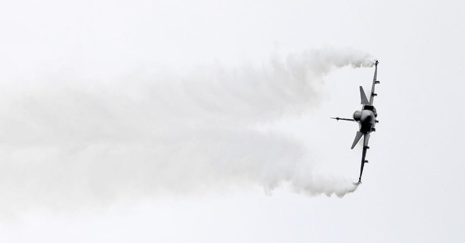 Saab JAS 39 Gripen foi um dos caças que participou de exibição no Farnborough Airshow, evento de aeronaves na Inglaterra