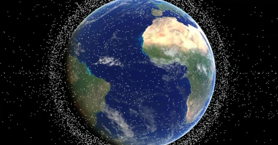 28.nov.2016 - Desde o início da exploração espacial nos anos de 1950, toneladas de lixo espacial estão se acumulando na órbita da Terra