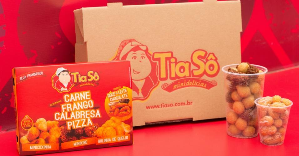 Embalagens da franquia Tia Sô Minidelícias