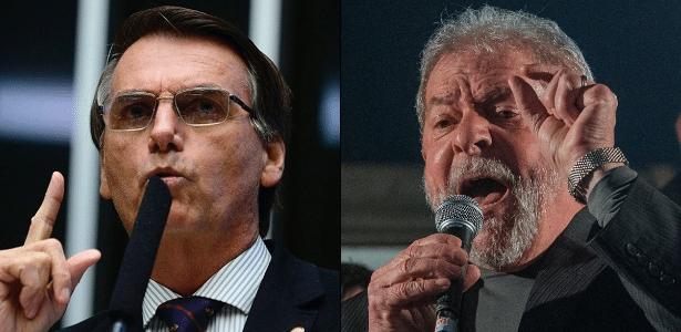 Montagem com fotos do deputado federal Jair Bolsonaro e do ex-presidente Lula