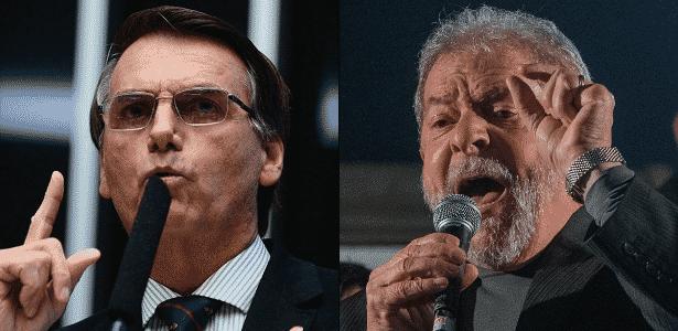 Montagem com fotos do deputado federal Jair Bolsonaro e do ex-presidente Lula - Arte/UOL
