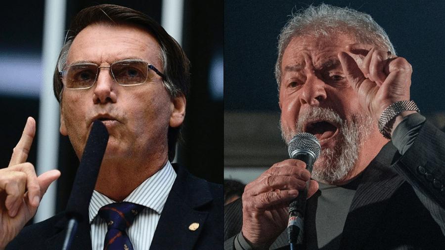 Montagem com fotos do ex-presidente Luiz Inácio Lula da Silva e do deputado federal Jair Bolsonaro - Arte/UOL