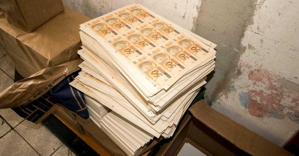 13.mar.2018 - Gráfica de fachada que falsificava dinheiro no bairro da Saúde, na zona sul da capital paulista