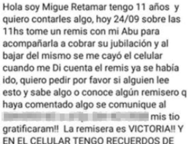 Garoto de 11 anos disse ter ficado devastado depois de perder o telefone quando acompanhava sua avó ao banco na cidade de San Juan - Reprodução/Facebook