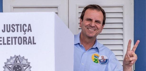 7.out.2018 - Eduardo Paes votou neste domingo no Gávea Golf Clube