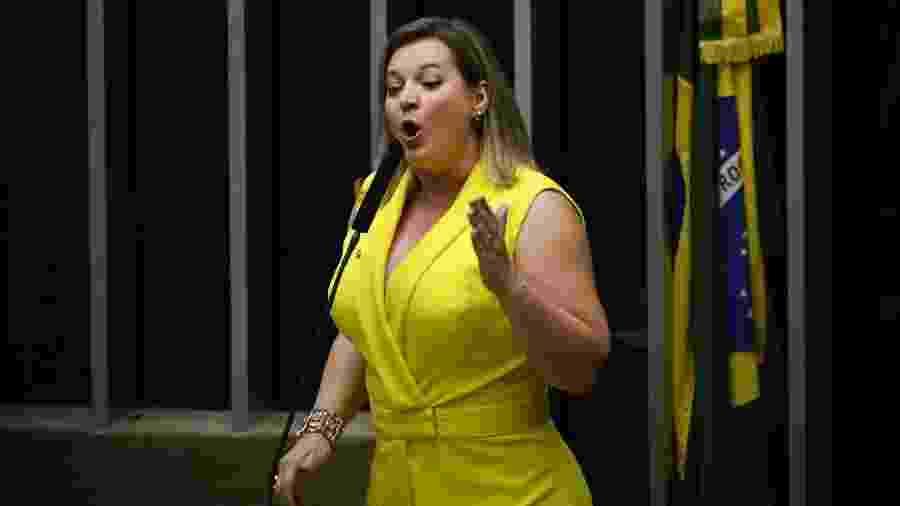 A líder do Governo na Câmara, Joice Hasselmann (PSL-SP), discursa durante a votação da Reforma da Previdência, no plenário da Casa, em Brasília (DF), nesta quarta-feira (10) - Mateus Bonomi/Agif/Estadão Conteúdo