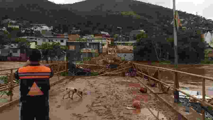 26.jan.2020 - Área afetada pelas fortes chuvas em Raposos, no interior de Minas Gerais - Defesa Civil de Minas Gerais