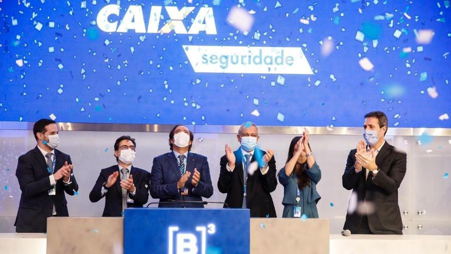 Executivos da Caixa no lançamento das ações da Caixa Seguridade na B3 - Divulgação/B3