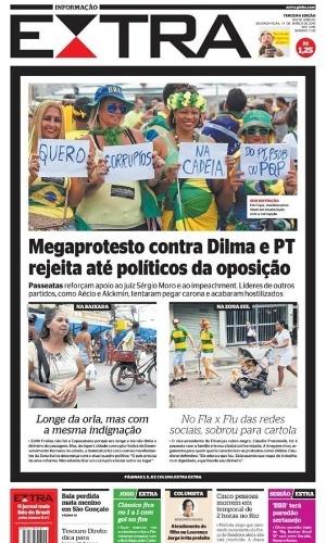 RJ: Capa do jornal Extra de 14 de março de 2016