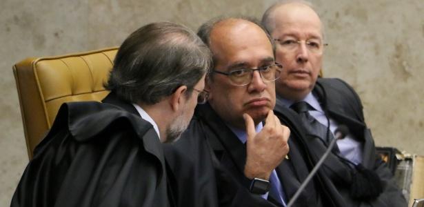 Da esq. para dir., os ministros Dias Toffoli, Gilmar Mendes e Celso de Mello