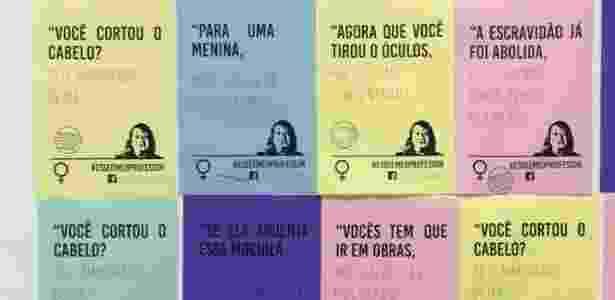Frases machistas foram coladas nas paredes da Universidade Mackenzie - Coletivo Feminsta Zaha/Divulgação