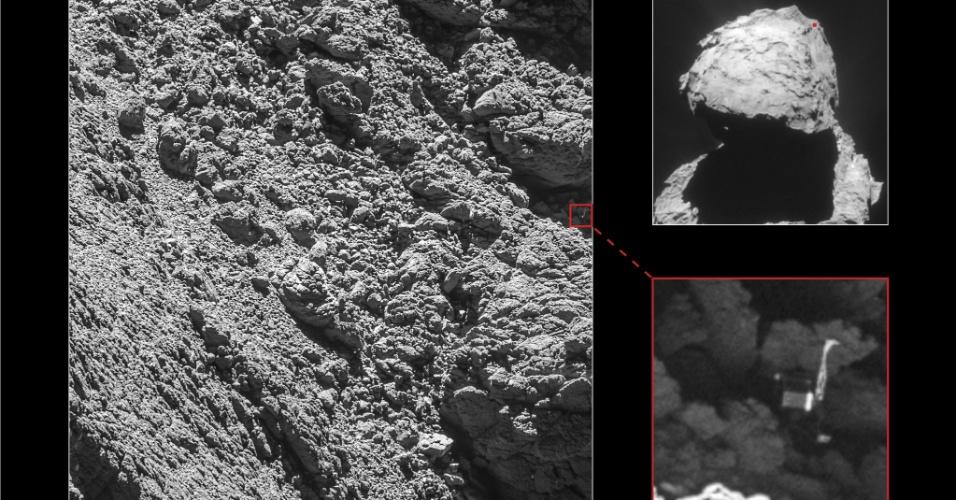 5.set.2016 - Câmeras da sonda espacial Rosetta localizaram o robozinho Philae pela primeira vez desde que ele pousou no cometa 67P em novembro de 2014.