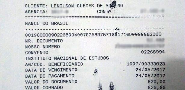 Comprovante de pagamento do Enem feito por candidato da Paraíba