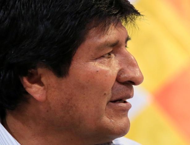 20.nov.2017 - O presidente boliviano Evo Morales durante conferência em Santa Cruz - DAVID MERCADO/REUTERS