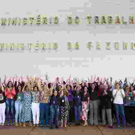 8.nov.2018 - Funcionários do Ministério do Trabalho protestaram em frente ao edifício-sede contra a extinção da pasta - Edu Andrade/Divulgação/MTE
