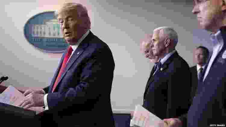 Trump tem participado de coletivas de imprensa sobre o coronavírus da Casa Branca - Getty Images via BBC