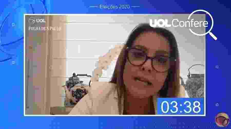 A candidata do PSC à Prefeitura do Rio, Glória Heloiza, em sabatina UOL/Folha - UOL Confere