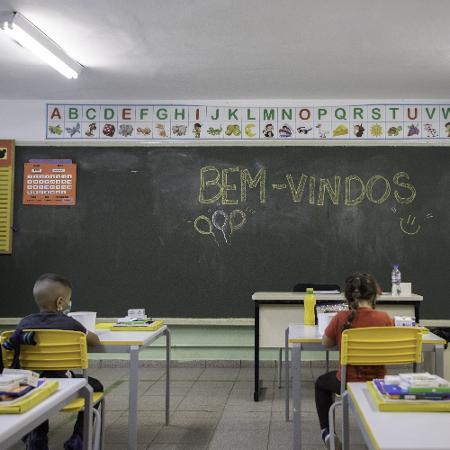 Foto de fevereiro quando aulas presenciais foram retomadas em escola em São Paulo - Bruno Rocha/Estadão Conteúdo