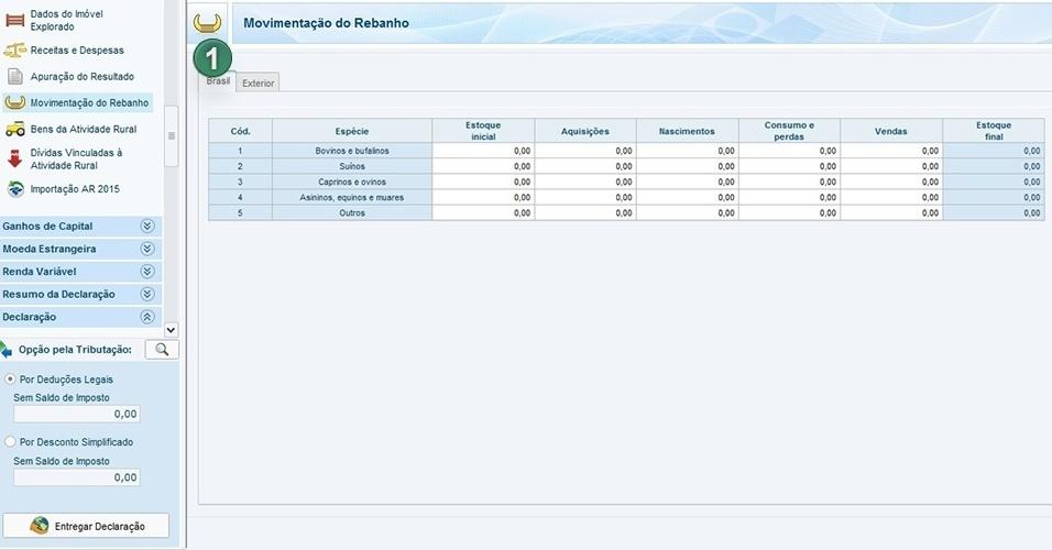 Para informar sobre rebanhos, escolha Brasil (1) na aba superior à esquerda e informe os dados solicitados, como estoque inicial de animais, aquisições e vendas