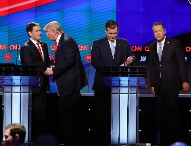 11.mar.2016 - Marco Rubio, Donald Trump, Ted Cruz e John Kasich (da esq. para dir.), pré-candidatos do partido Republicano à Casa Branca, participam de debate em Miami