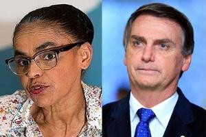 Os candidatos à Presidência Marina Silva (Rede) e Jair Bolsonaro (PSL)
