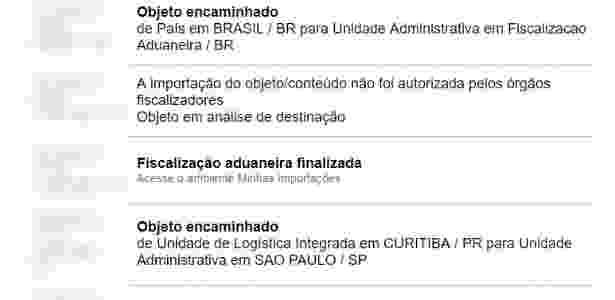 Site dos Correios informa que produto eletrônico teve compra desautorizada pela Anatel - Reprodução/Arquivo pessoal
