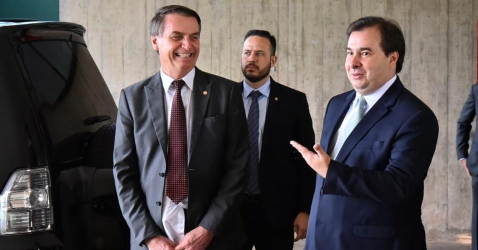 Saída do café da manhã entre o presidente Jair Bolsonaro (PSL) e o presidente da Câmara dos Deputados, Rodrigo Maia (DEM)