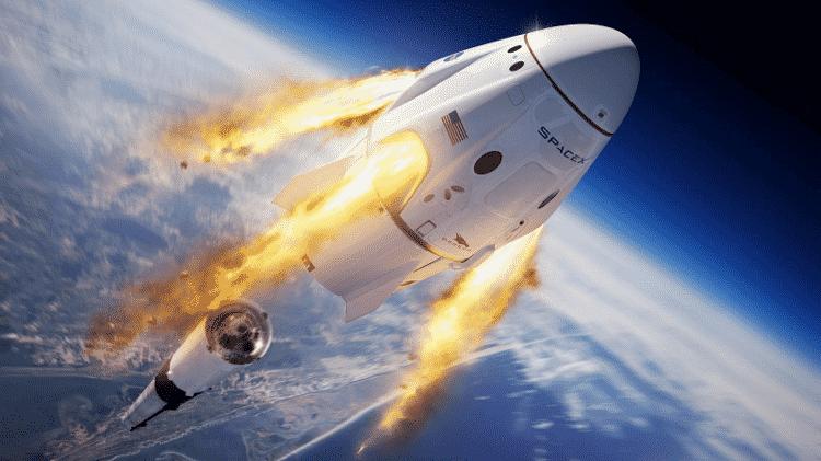 Imagem ilustrativa da cápsula Crew Dragon - SpaceX/Divulgação - SpaceX/Divulgação