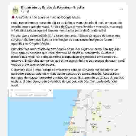 Post da Embaixada da Palestina em Brasília critica ausência do território no Google Maps - Reprodução - Reprodução