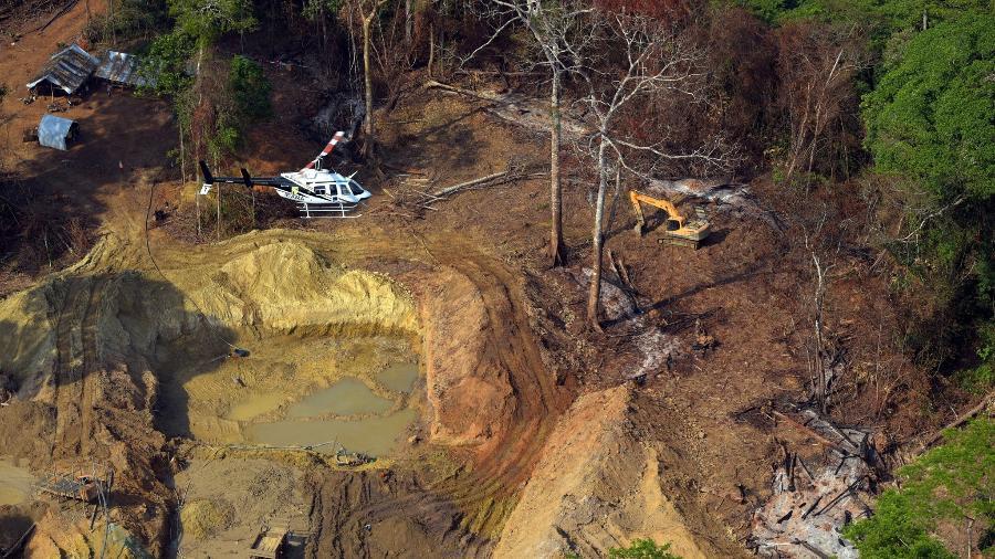 Imagem mostra garimpo ilegal em terra indígena no estado do Pará - Secom Ibama
