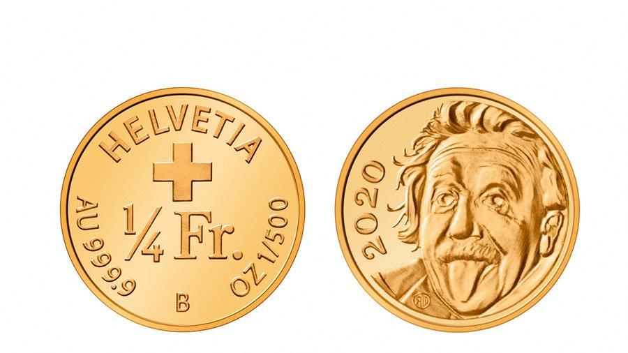 13.abr.2021 - Combinação de fotos mostra moeda, a menor comemorativa do mundo, com o rosto de Albert Einstein  - AFP/Swissmint