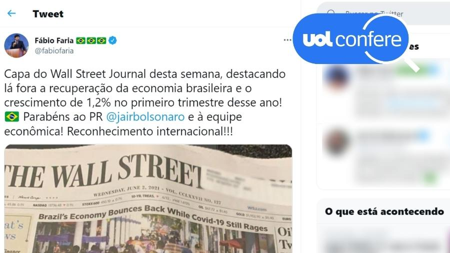 7.jun.2021 - Tweet do ministro Fábio Faria destaca dado positivo e omite informações de reportagem do Wall Street Journal - Reprodução/Twitter Fábio Faria