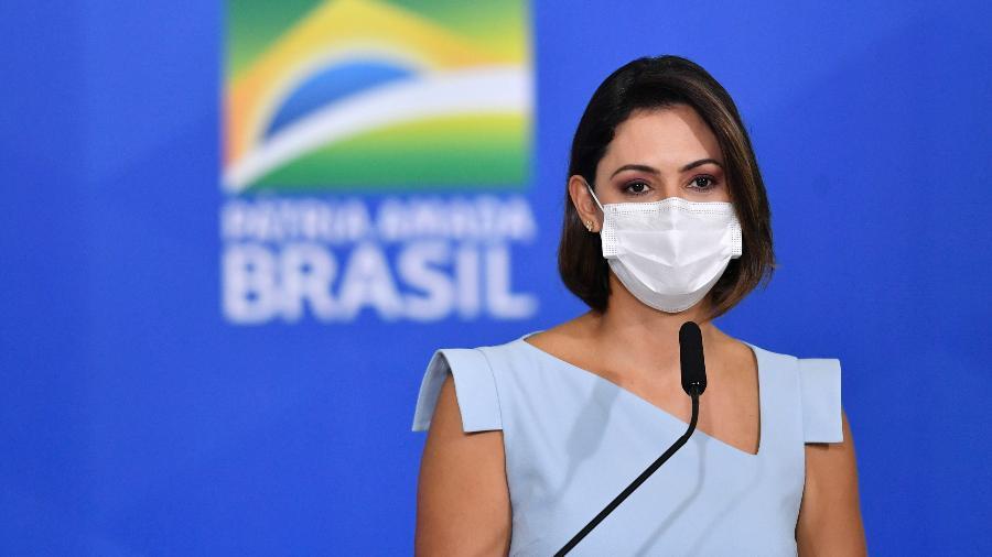 26.mai.2021 - A primeira-dama Michelle Bolsonaro durante cerimônia no Palácio do Planalto, em Brasília - Mateus Bonomi/AGIF/Estadão Conteúdo