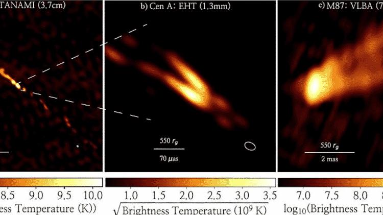 Imagens mostram momento em que jato de radiação é emitido pelo buraco negro - Divulgação/Nature Astronomy - Divulgação/Nature Astronomy