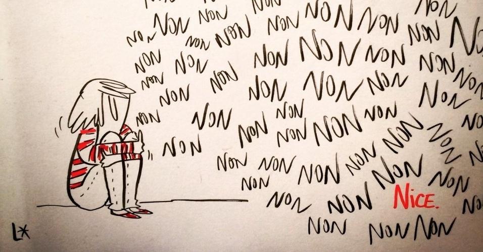 """15.jul.2016 - """"Não não não não... Nice"""", diz a charge postada por Louison A no Twitter"""