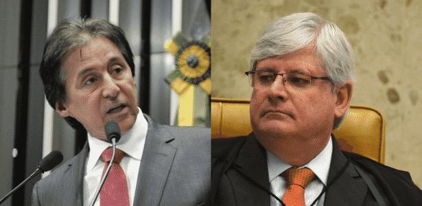 O senador do PMDB Eunício Oliveira (à esquerda) foi relator da primeira indicação de Rodrigo Janot à PGR (Procuradoria Geral da República), em agosto de 2013 - Arte/UOL